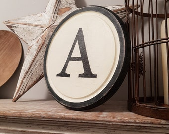 30cm Round Letter A Sign, Monogram, Initial, Wall Art, Home Decor, Rustic Letters, All letters available, inc ampersand, typewriter style