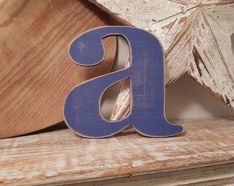 Wooden Letter lowercase a - painted and distressed - letter art, interior decor, 15cm, SALE, Clearance