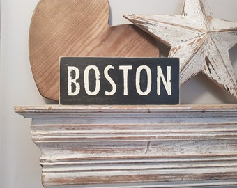 Painted Wooden Sign - Custom Sign, City, Town, State - Wall Decor - Rustic, Vintage, Shabby Chic, Boston