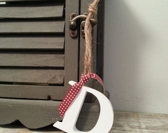 Hanging Wooden Letter Tag - Hand Painted - Letter D - various colours available