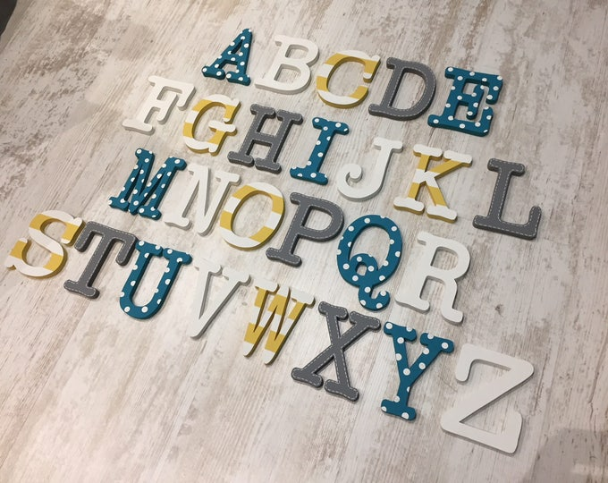 Featured listing image: Full Wooden Alphabet - Hand Painted Wooden Letters Set - 26 letters - 12cm high, Typewriter font, any colours