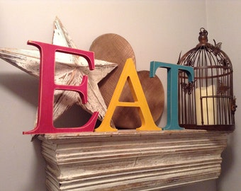 Wooden Painted Letters - EAT - Georgian Font - 25cm, standing