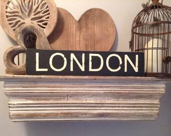 Handmade Wooden Sign - LONDON - 43cm