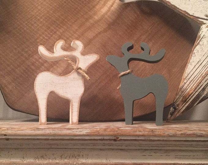 Pair of Standing Reindeer, Large, 20cm high, other sizes available, any colour, distressed, rustic, Price is for a pair
