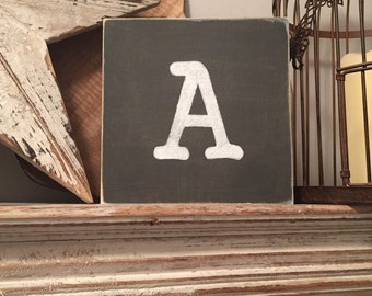 personalised letter block, initial, wooden letters, monograms, 15cm square, hand painted, letter A, chalkboard style