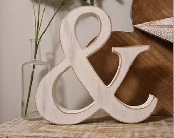 Wooden Letter '&' -  20cm x 25mm - Georgian Font - various finishes, standing