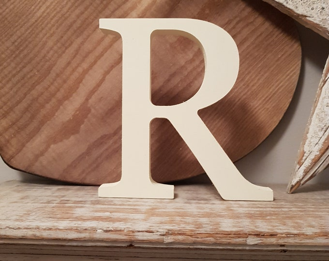 Decorative Wooden Wall Letter 'R' - Any Colour - Plain Finish - Roman Style - 20cm high, 9mm thick