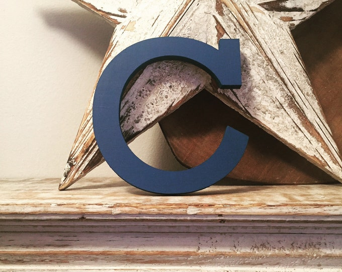 Wooden Letter 'C' -  15cm x 18mm - Rockwell Font - various finishes, standing