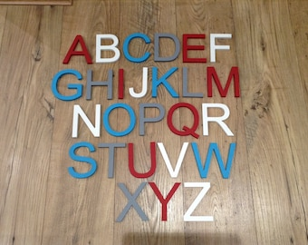 Full Wooden Alphabet - Hand Painted Wooden Letters Set - 26 letters - 12cm high - New Ariel Font