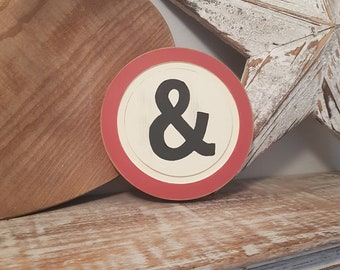 15cm Round Letter & Sign, Monogram, Initial, Wall Art, Home Decor, Rustic Letters, All letters available, typewriter style