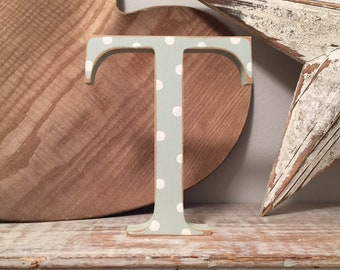Wooden Letter T - 20cm x 18mm, Freestanding - Georgian Font - Various sizes, finishes and colours
