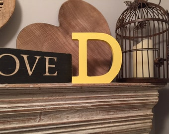 Wooden Letter 'D' - 25cm - Rockwell Font - various finishes, standing