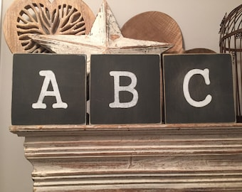 personalised letter block, initial, wooden letters, monograms, 15cm square, hand painted, chalkboard style, CHOOSE YOUR LETTER