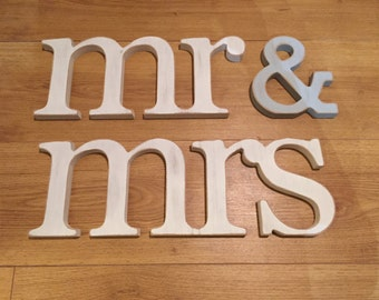 Wooden Wedding Letters - mr & mrs, lower-case, joined, 15cm, various finishes, wedding decor, personalised