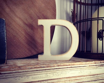 Wooden Letter D - 30cm x 18mm, Freestanding - Rockwell Font - Various sizes, finishes and colours