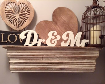 Wooden Wedding Letters - Dr & Mr - New Funky Font - 15cm - free-standing, various colours and finishes available