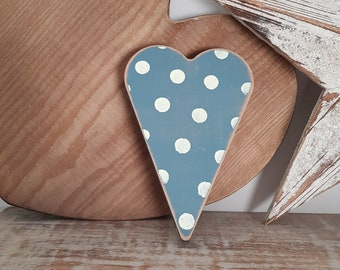 Painted Wooden Heart - Spotty Finish - Blue & White, 19cm