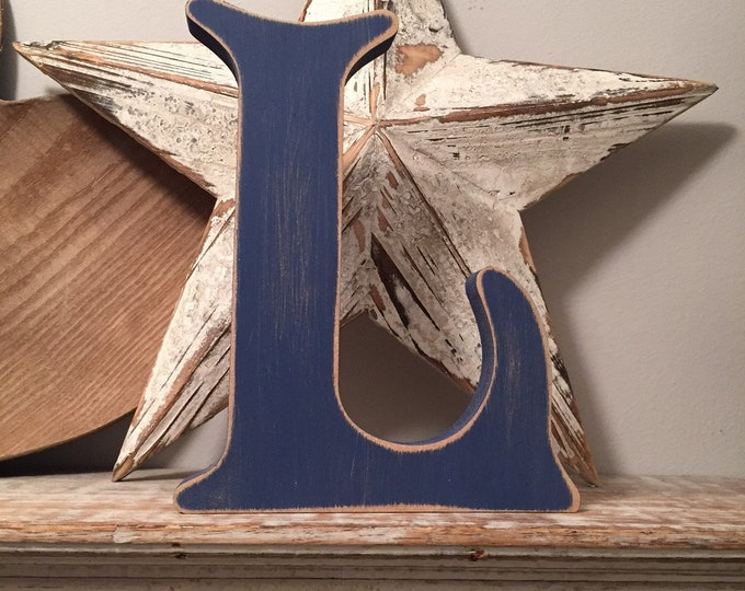 Wooden Letter L – Personalized Name Letter – Nursery Decoration Ideas – Rustic Room Décor – Victorian Style – Decorative Wooden Sign - 25cm