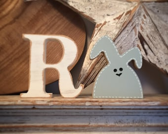 Wooden Bunny & Letter - Lop Eared Bunny and Initial, Any letter, choice of colours, 10cm high, Set of 2 - a letter and a bunny!