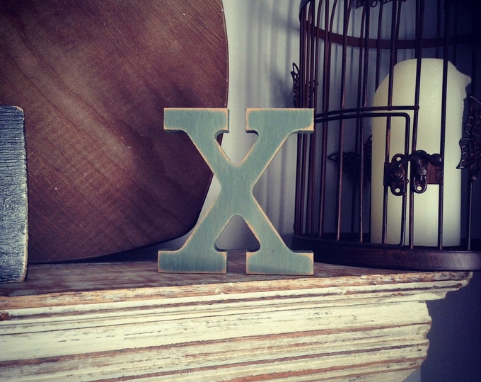 Wooden Letter X – Personalized Name Letter – Nursery Decoration Ideas – Rustic Room Décor – Rockwell Style X – Decorative Wooden Sign