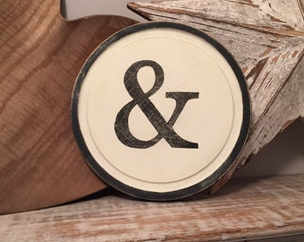 15cm Round Letter & Sign, Monogram, Initial, Wall Art, Home Decor, Rustic Letters, All letters available, inc ampersand, typewriter style