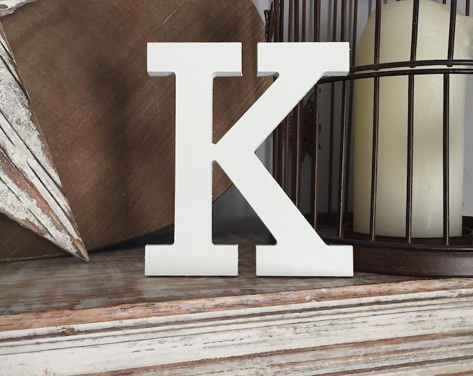 Wooden Letter 'K' - 20cm- Rockwell Font - various finishes, standing