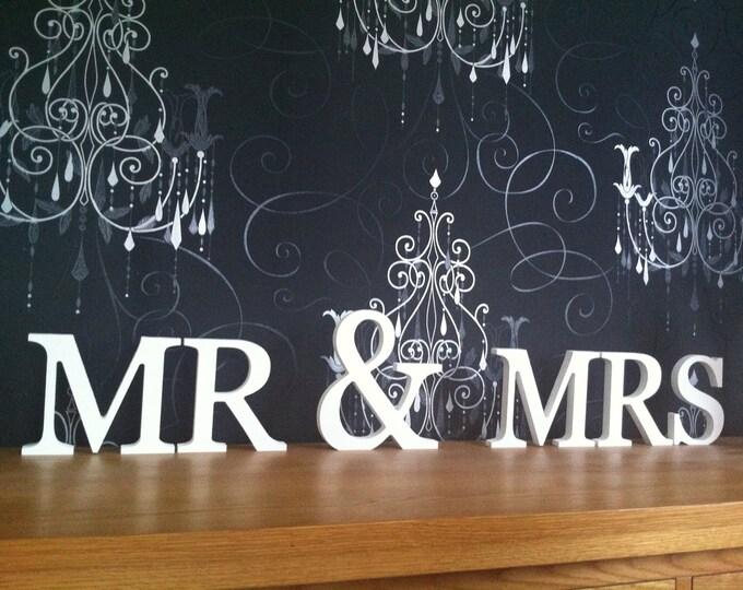 Mr & Mrs - Weddings - Free-standing Wooden Letters - Top Table, Wedding Letters, 15cm, 20cm, whole set, wedding decor, letter decor