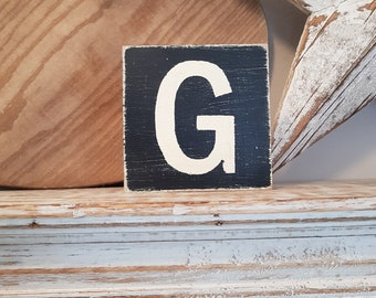 wooden sign, vintage style, personalised letter blocks, initials, wooden letters, monograms, letter G,  10cm square, hand painted