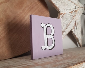 personalised letter blocks, initials, wooden letters, monograms, letter B,  10cm square, hand painted