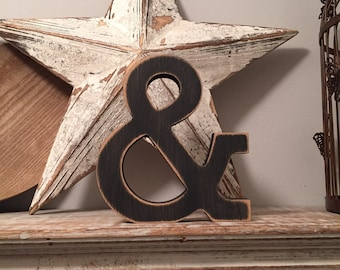 Wooden Letter 'ampersand' - 20cm- Rockwell Font - various finishes, standing