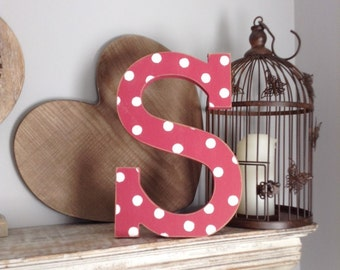 Hand-painted Wooden Letter S - Freestanding - Rockwell Font - Various sizes, finishes and colours - 30cm