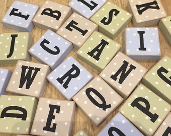 Wooden Letter Blocks, Complete Alphabet - Initials, Monograms, Rustic - 26 letters