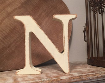 Wooden Letter N - 30cm x 18mm, Freestanding - Georgian Font - Various sizes, finishes and colours