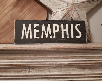 Painted Wooden Sign - Custom Sign, City, Town, State - Wall Decor - Rustic, Vintage, Shabby Chic, MEMPHIS