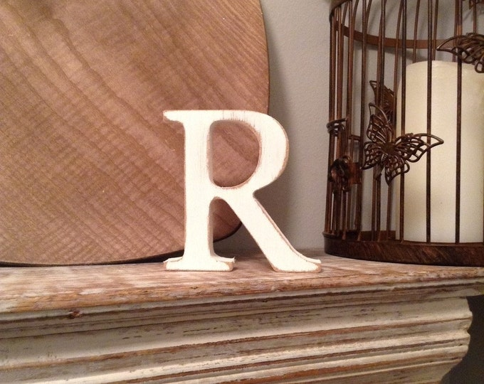 Wooden Letter R , 20cm x 18mm - Freestanding - Georgian Font - Various sizes, finishes and colours,
