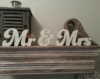 10cm Handpainted Freestanding Wooden Wedding Letters - Mr & Mrs - New Funky Font
