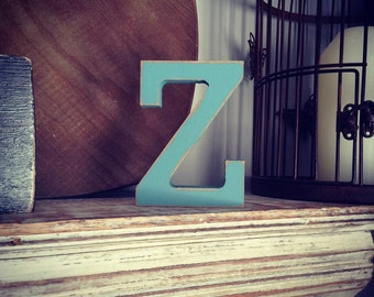 Wooden Letter Z - 30cm x 18mm, Freestanding - Rockwell Font - Various sizes, finishes and colours