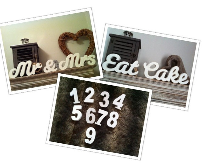 Wooden Wedding Table Decoration Package - Table Numbers, Mr & Mrs, Eat Cake