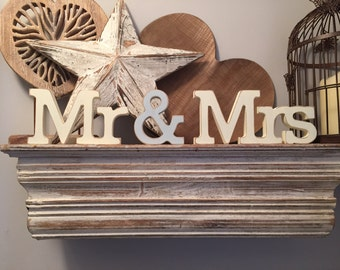 Wooden Wedding Letters - Mr & Mrs - New Rockwell Font, Hand-painted, Free-standing, 10cm