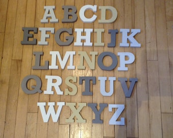 Wooden Alphabet - Hand Painted Wooden Letters Set - 26 letters - 12cm high - RS font