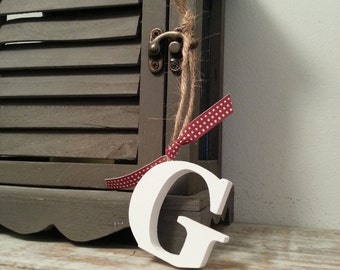 Hanging Wooden Letter Tag - Hand Painted - Letter G