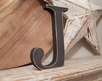 Wooden Letter 'J' -  20cm x 18mm - Georgian Font - various finishes, standing
