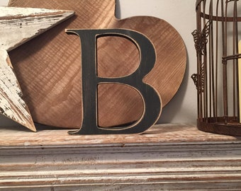 Wooden Letter B - 15cm x 18mm, Freestanding - Georgian Font - Various sizes, finishes and colours