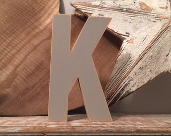Wooden Letter K - 15cm, Freestanding - Ariel Font - Various sizes, finishes and colours