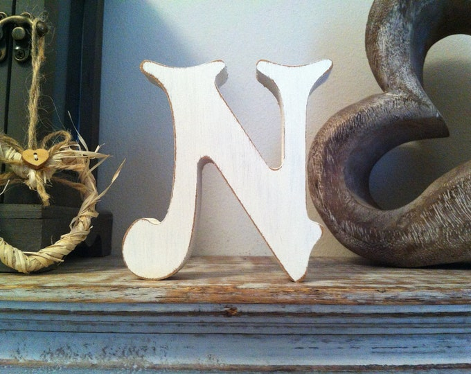 Wooden Letter 'N' - 30cm - Victorian Font - various finishes, standing