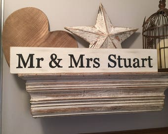 Handmade Wooden Sign - Personalised - MR & MRS, 60cm