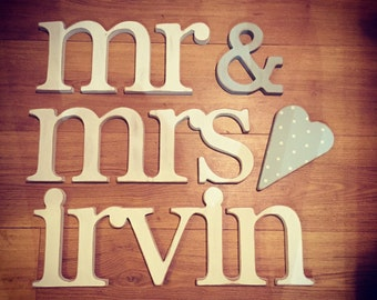 Wooden Wedding Letters - mr & mrs, lower-case, joined, 15cm, various finishes, wedding decor, personalised, heart