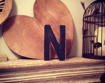 Hand-painted Wooden Letter N - Freestanding - Ariel Font - Various sizes, finishes and colours