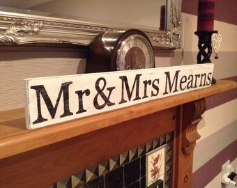 Large Handmade Distressed Sign - Personalised - MR & MRS ... just add your surname