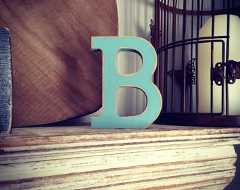 Wooden Letter B - 30cm x 18mm, Freestanding - Rockwell Font - Various sizes, finishes and colours
